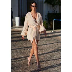 NEW RETROFETE Gabrielle Robe Dress, Peach, Small